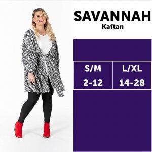 LuLaRoe Savannah Size Chart