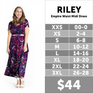 LuLaRoe Riley Size Chart