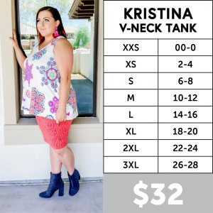 LuLaRoe Kristina Size Chart