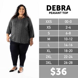 LuLaRoe Debra Size Chart