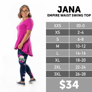 LuLaRoe Jana Size Chart